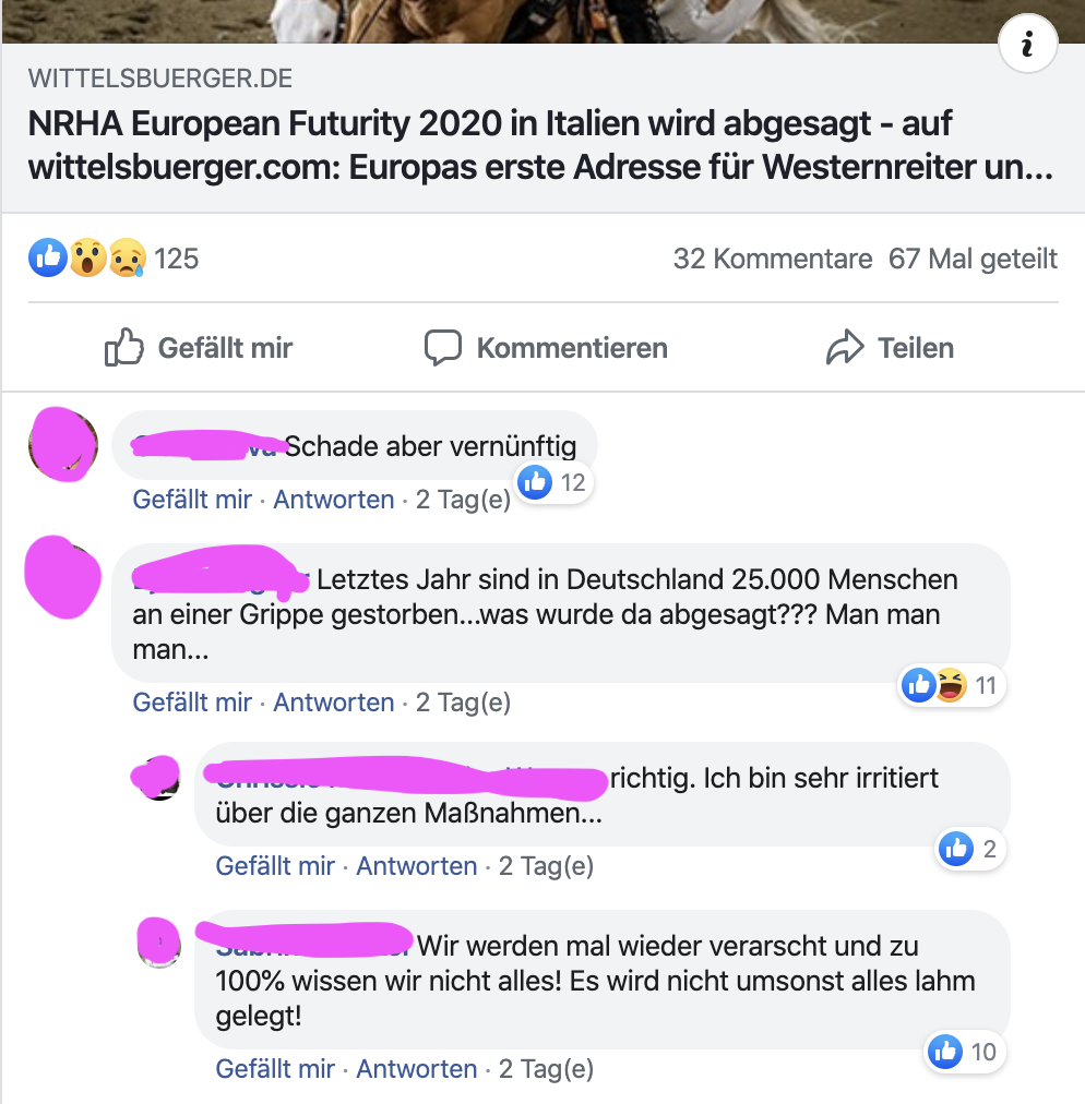Screenshot mit Auszügen von Facebook Kommenrtaren zum Wittelsbürger Beitrag der Absage der NRHA Futurity 2020